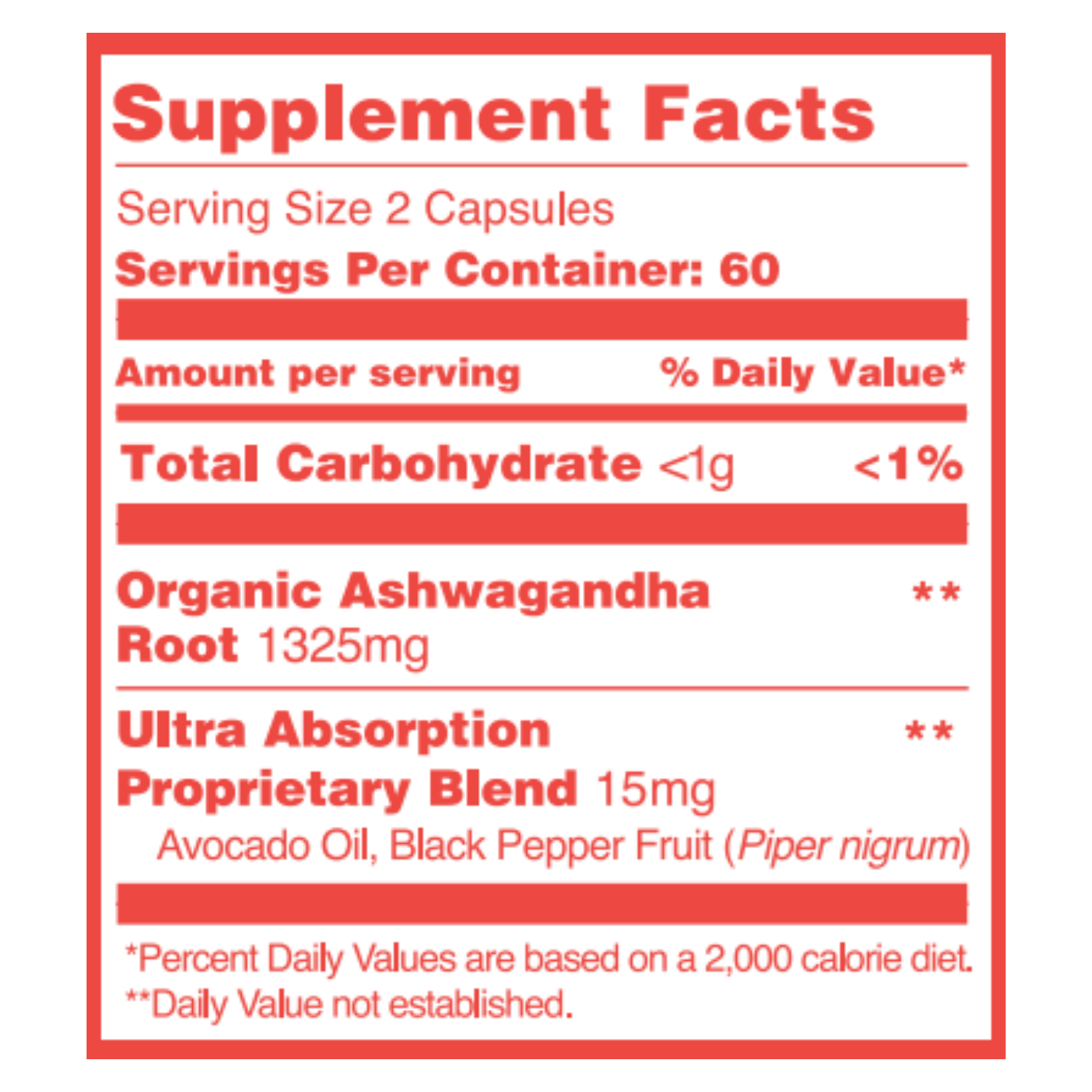 Premium Ashwagandha Supplement Facts