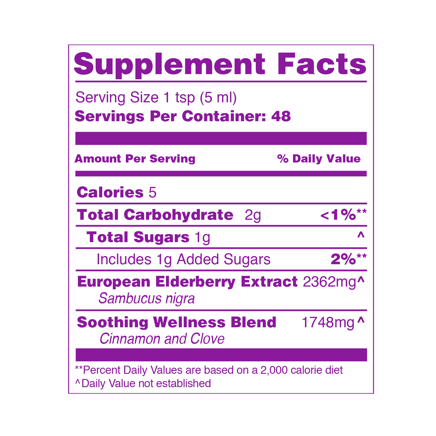 ELDERBERRY SOOTHING SYRUP SUPPLEMENT FACTS