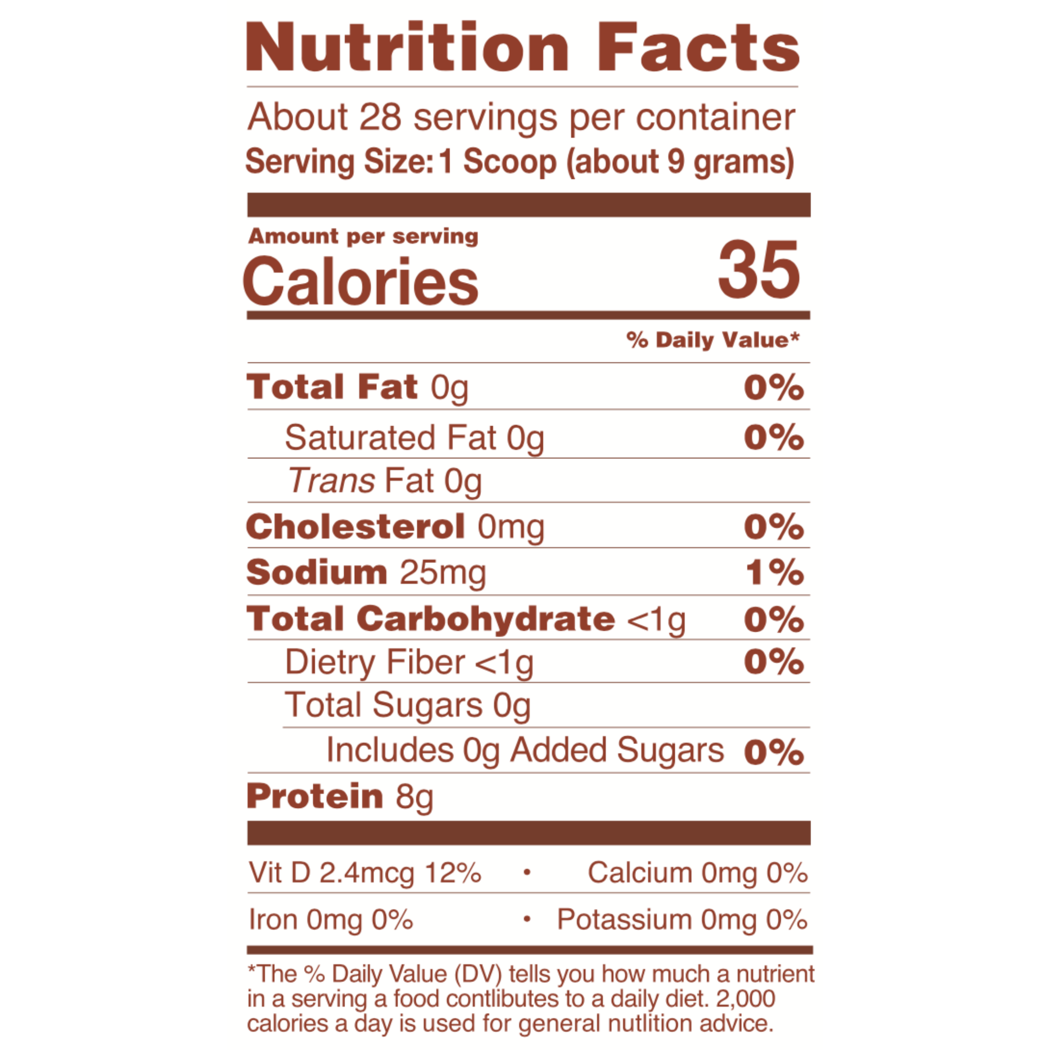 Vanilla Collagen Nutritional Information