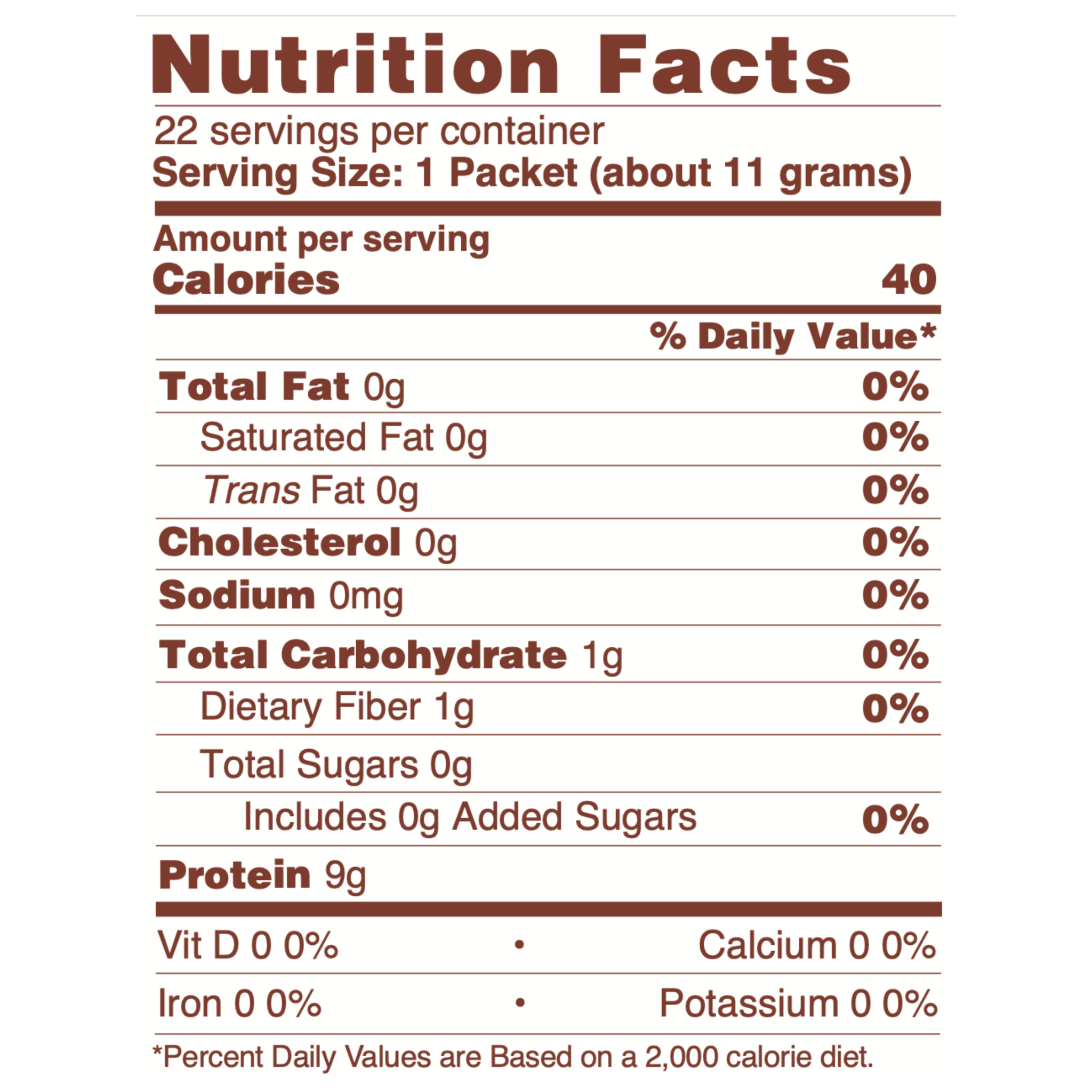 CHOCOLATE COLLAGEN PACKETS NUTRITIONAL INFORMATION