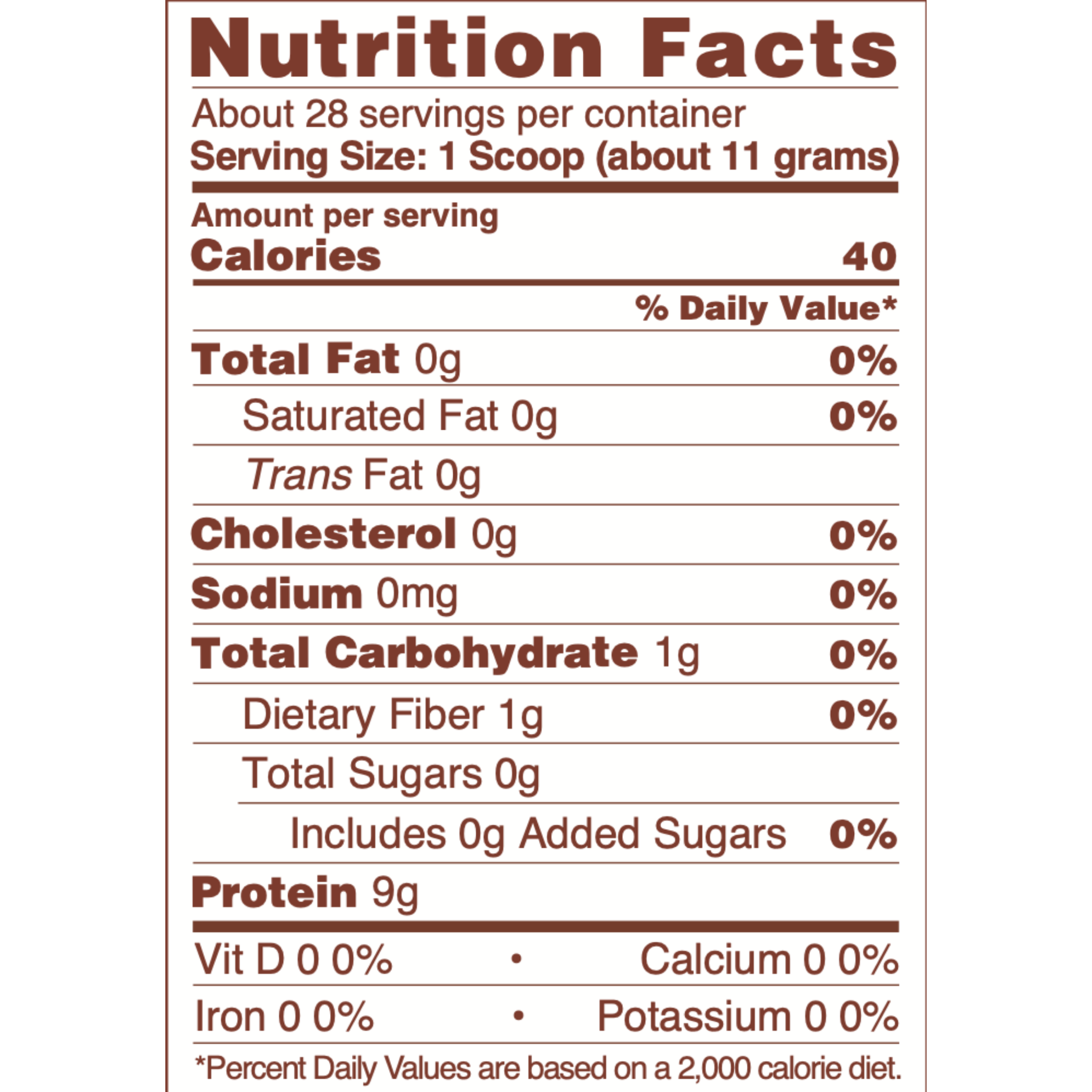 Chocolate Collagen Nutritional Information