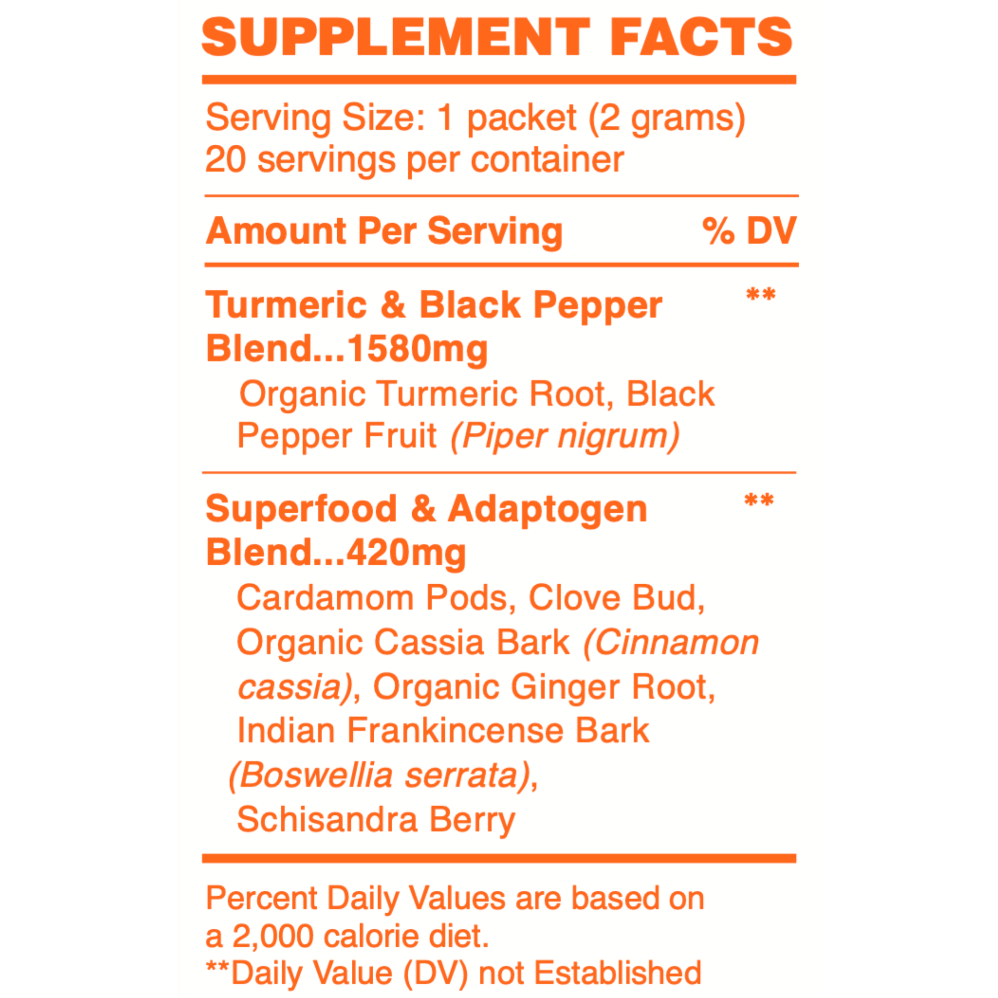 Superfood Turmeric On-the-go Supplement Facts