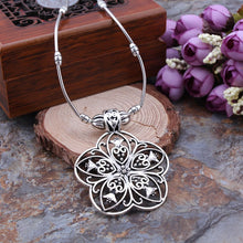 Vintage Tibetan Silver Flower Pendant Necklace