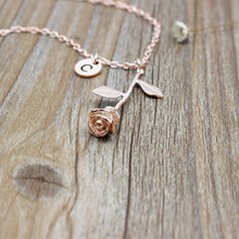 Rose Pendant Initial Necklace