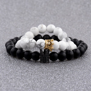 Crown & King Couples' Beads Bracelet