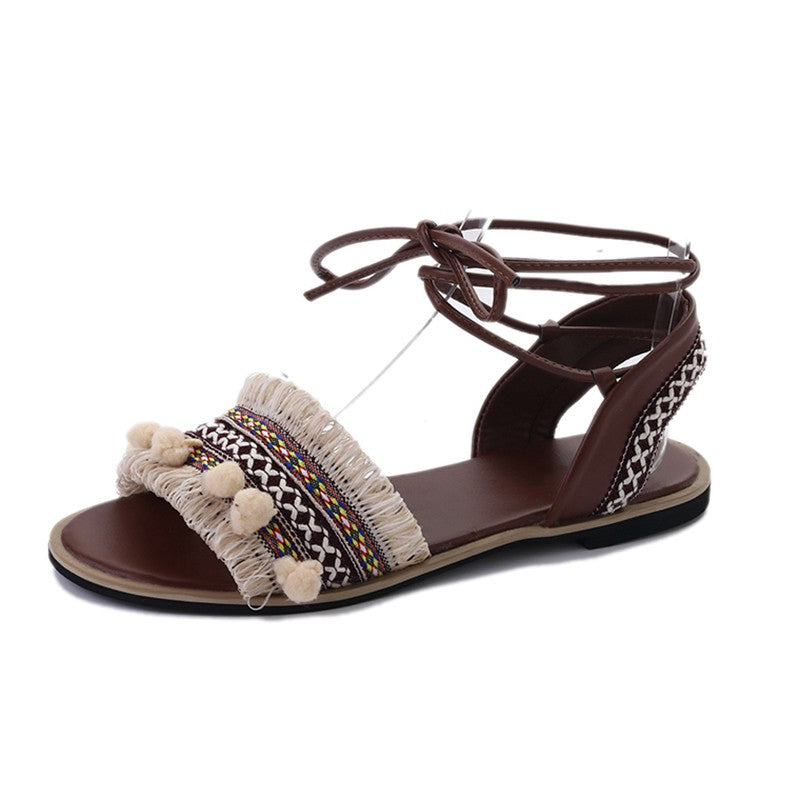 Bohemian Ladies' Sandals with Mini Tassels and Pom Pom