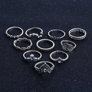 Vintage Bohemian Hollow Water Drop Pattern 10PC/set Rings