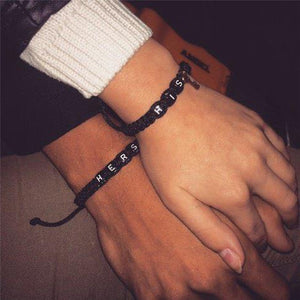 His Lock & Hers Key Braided Couple Bracelet