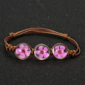 Handweaved Triple Glass Ball Flower Bracelet