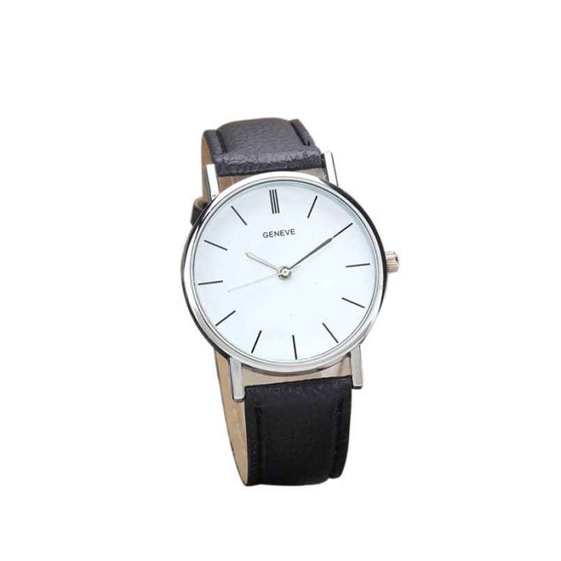 Geneve Leather Strap Simple Designed Wristwatch
