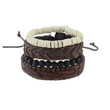 Bohemian Style Multi Layer Beads & Weaved Bracelet Set