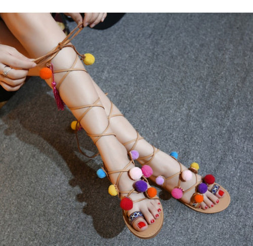High Knee Bohemian Style Pom Pom Sandals