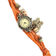 Vintage Rivet Braided Leather Bracelet Watch with Butterfly Charm
