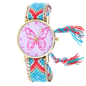 Bohemian Style Strap with Pink Butterfly Dial