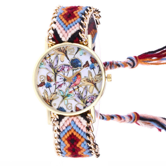 Bohemian Style Strap with Flower Dial Watch