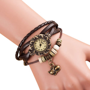 Leather Bracelet Watch with Cute Cat Charm