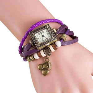 Leather Bracelet Strap Squared Dial with Cute Cherry Charm