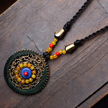 Bohemian Style Blue Stone and Yellow Carnelian Pendant Necklace