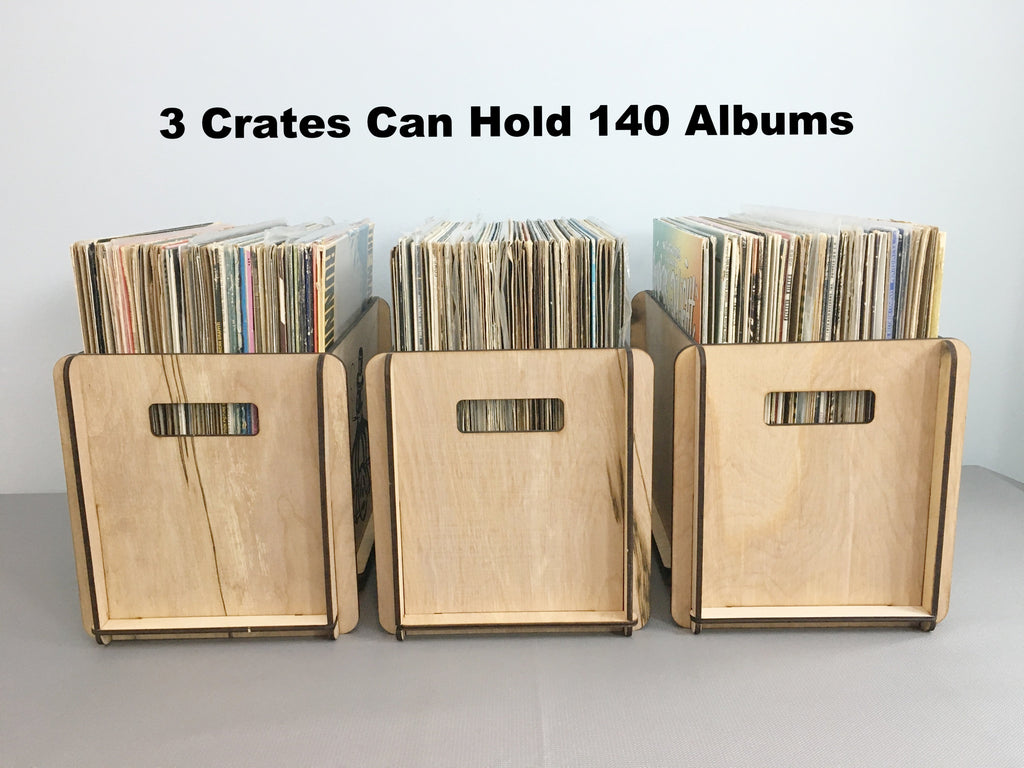 THREE VINYL RECORD STORAGE CRATES SPECIAL FREE SHIPPING