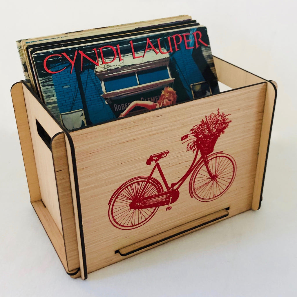 Red Bicycle Vinyl Record Storage Crate - Free U.S. Shipping
