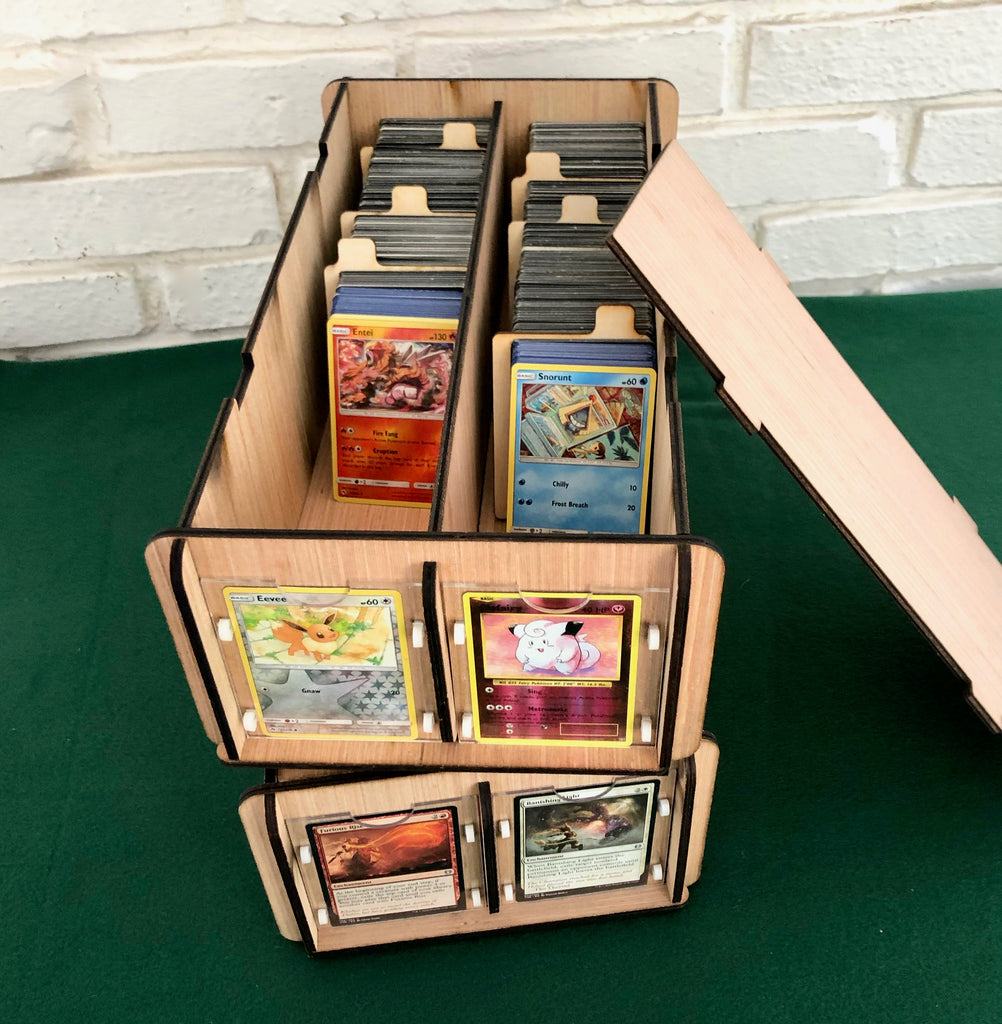 Two CCG/TCG Deck Boxes with Frames & Dividers - Display, Organize, Store Magic, Pokeman, or Baseball Cards