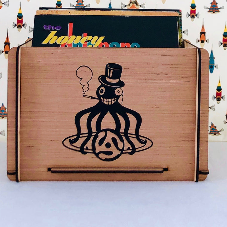 Vintage Design Vinyl LP Storage Crate - Great Gift for Vinyl Collectors