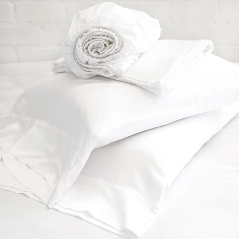 Pom Bamboo White Queen Sheet Set