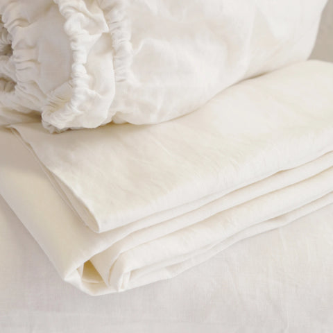 Linen 100% Cream Queen Fitted Sheet