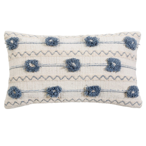 Izzy Ivory/Denim 14x24 Pillow