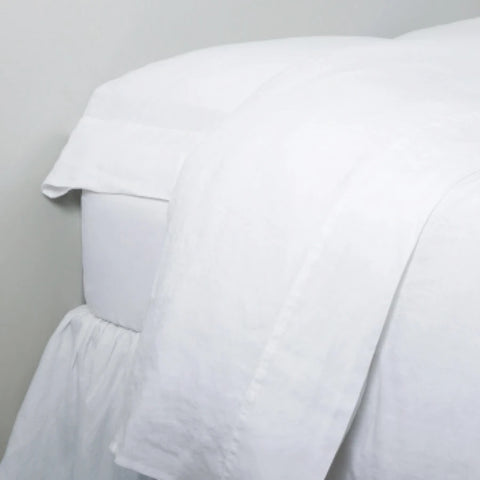 Pom White King Linen Sheet Set
