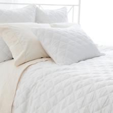 Quilted Silken White  K Coverlet