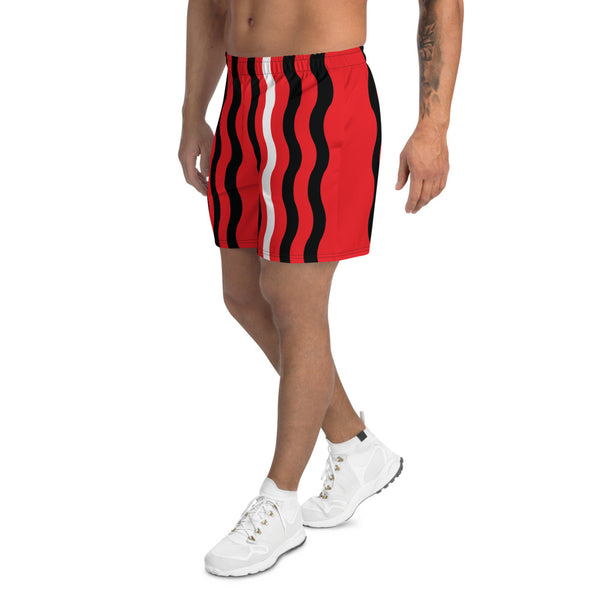 Brainwaves Athletic Shorts: Red