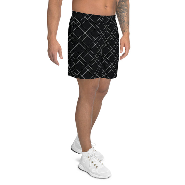 X-Ray Plaid Athletic Shorts: Black
