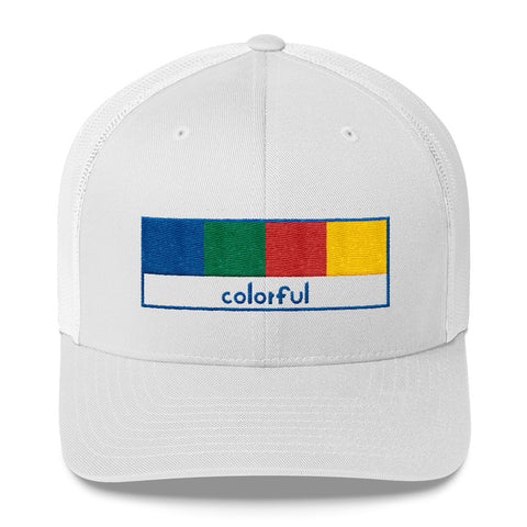 Colorful Trucker Cap: White