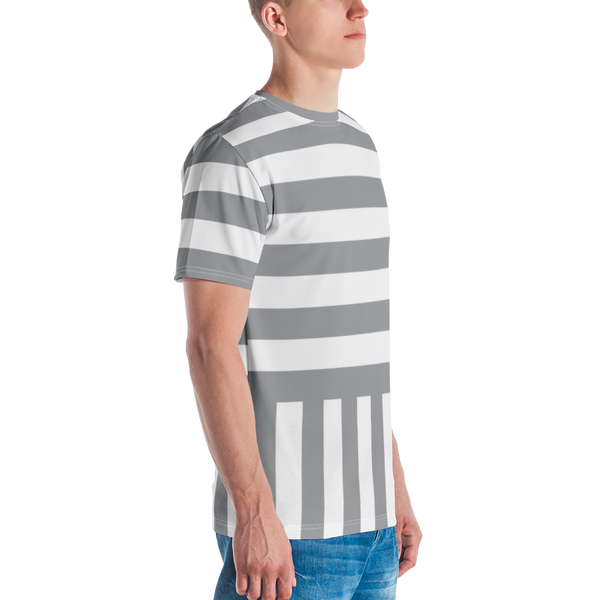 Grey Stripe Printed T-shirt