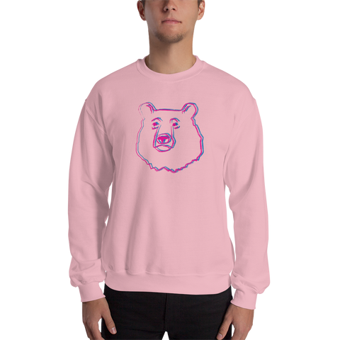 Bear Retro 3D Sweatshirt: Pink