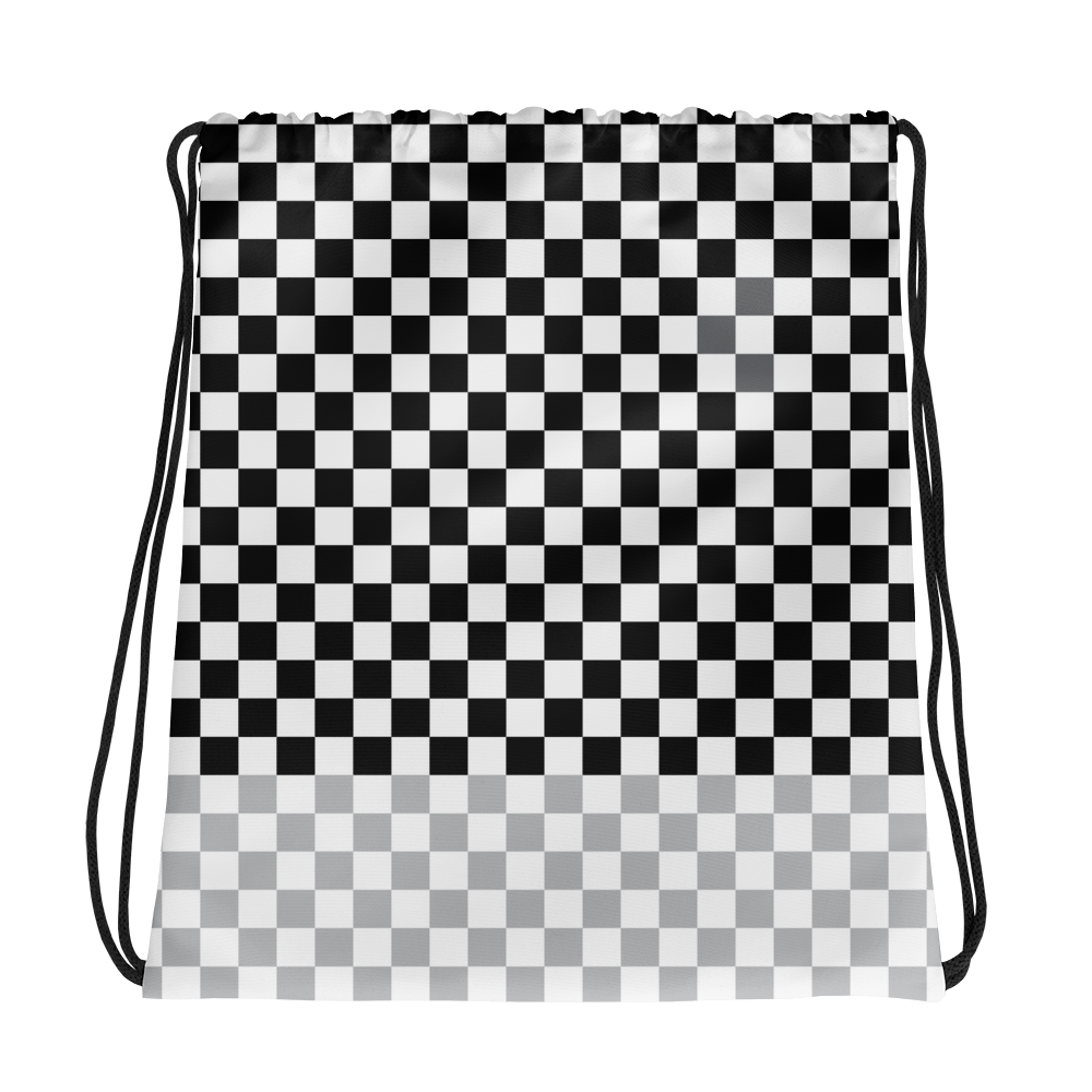 Check Drawstring bag-Black