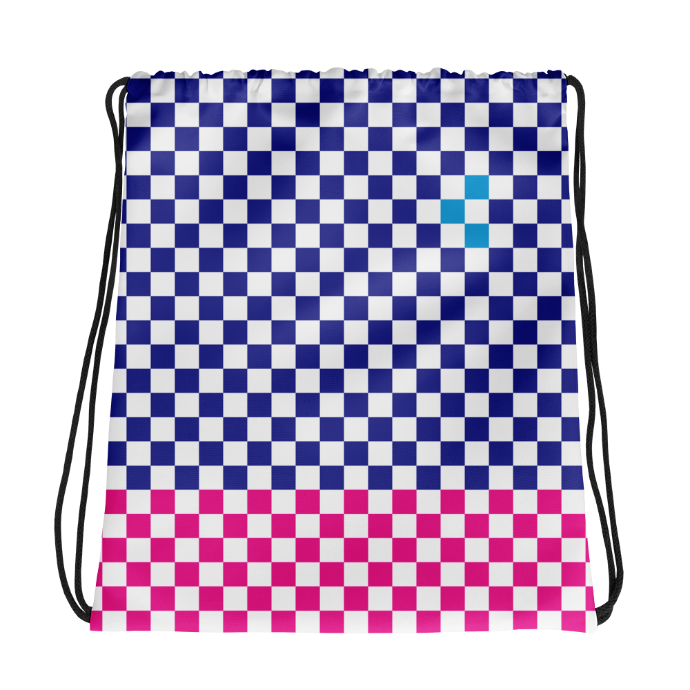 Check Drawstring bag-Blue