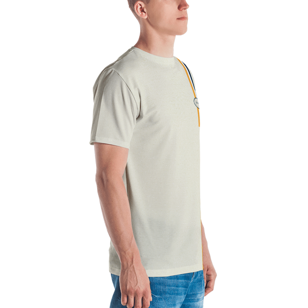 Porker Worker Micro Check T-shirt: Khaki/White