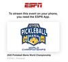 Live Pickleball on ESPN: Sport Continues in the Face of COVID-19 with It's Pickleball Mania World Championships | Pickler Pickleball