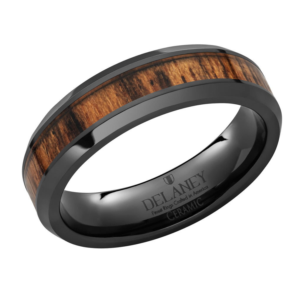Bacote Wood Inlaid Black Ceramic Women's Ring