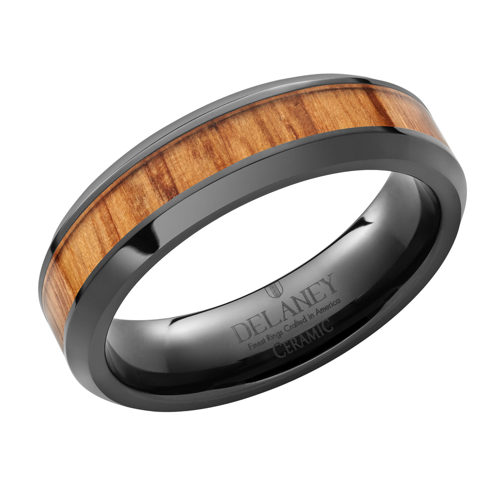 Genuine Whiskey Barrel Wood Inlaid Black Ceramic Women's Ring
