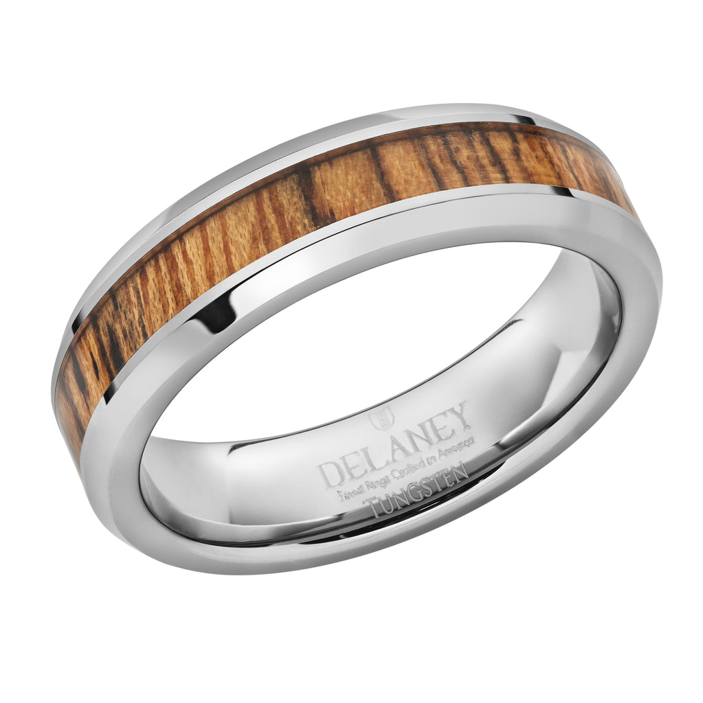 Bacote Wood Inlaid Tungsten Women's Ring