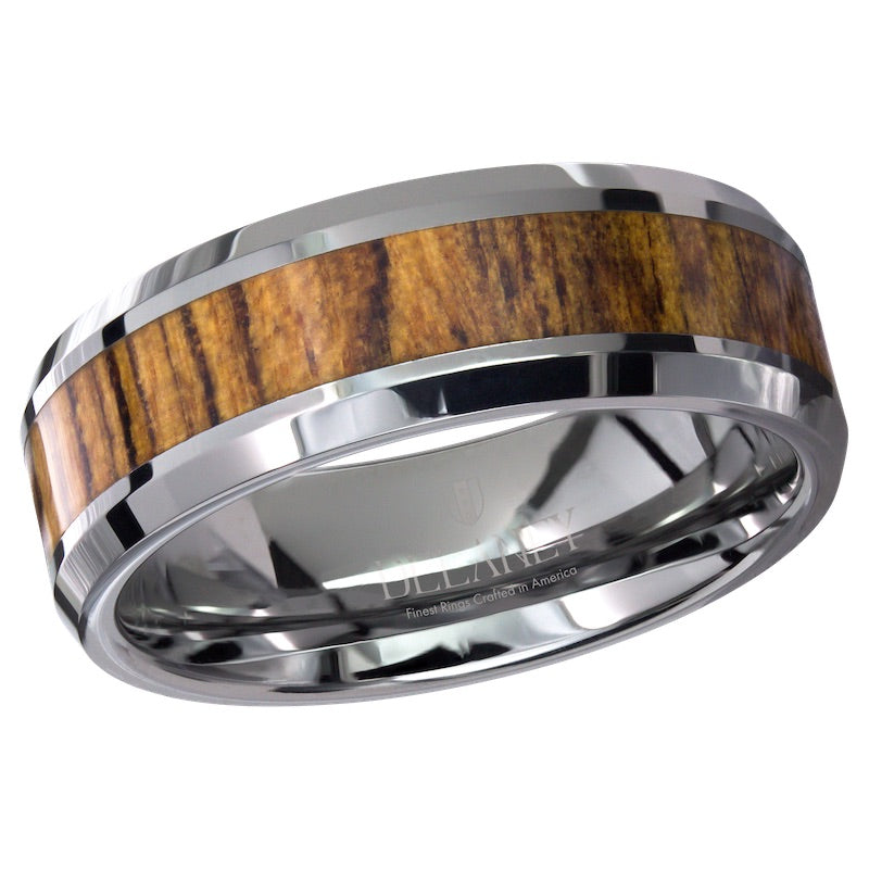 Bacote Wood Inlaid Tungsten Men's Ring