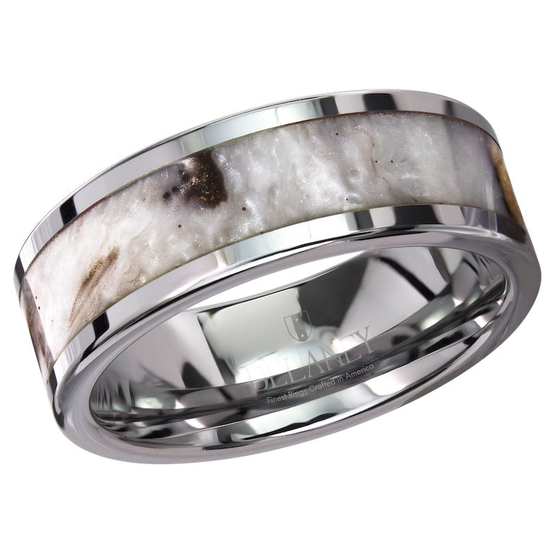 Pearl Cosmos Stone Inlaid Tungsten Men's Ring