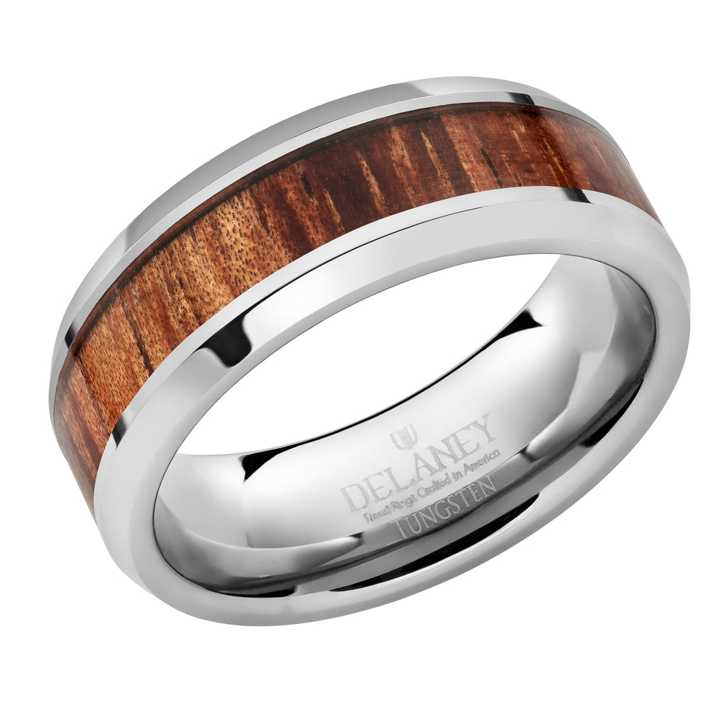 Koa Wood Inlaid Tungsten Men's Ring