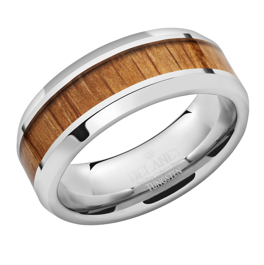 Genuine Wine Barrel Ring Inlaid in Tungsten Men's Ring