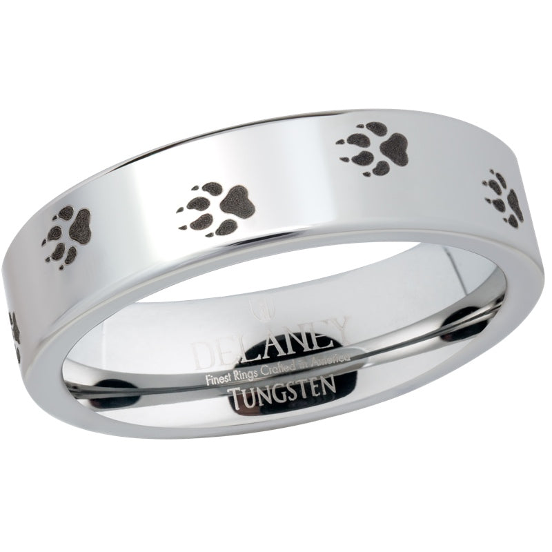 Wolf Prints Women's Tungsten Ring