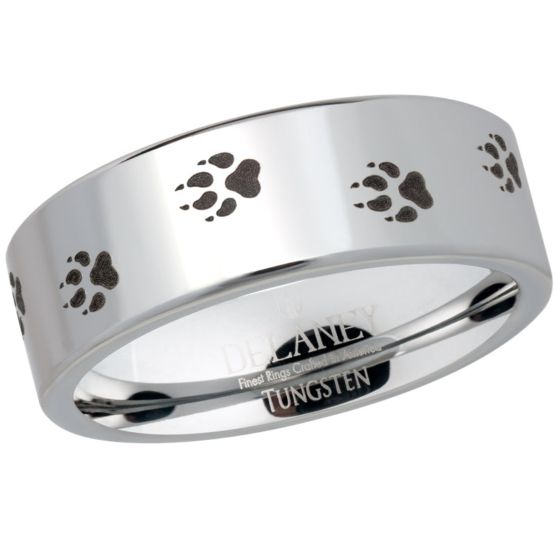 Wolf Prints Men's Tungsten Ring
