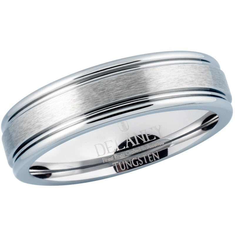Brushed Center With Grooves Women's Tungsten Wedding Band
